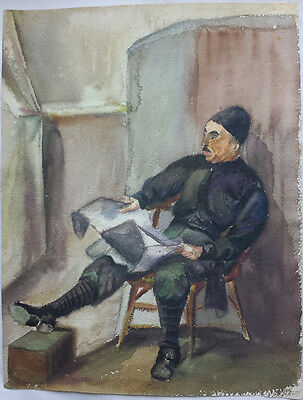 RUSSIAN MAN SEATED IN A CHAIR - ORIGINAL 20th CENTURY WATERCOLOUR PAINTING