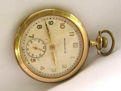 BEAUTIFUL  SWISS  MONARCH  10s  GOLD  POCKET  WATCH  # 3345