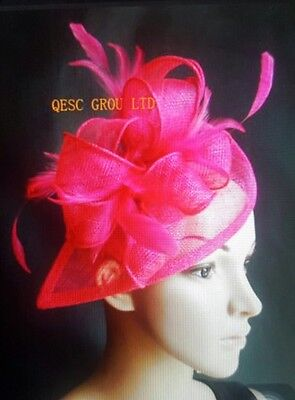 Fuchsia Sinamay With Feathers Comb Fascinator Hat Royal Ascot Wedding Ladies Day