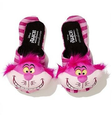 New PETER ALEXANDER Disney Alice In Wonderland Cheshire Cat  Slippers Size M
