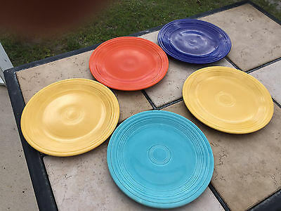 "Set Of 5 Vintage Fiesta Ware Homer Laughlin Original Colors 9 1/2"" Lunch Plates"