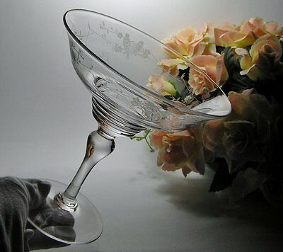 "VINTAGE Signed STUART CRYSTAL ""Love Birds"" TALL Pedestal DISH Comport RD 681649"