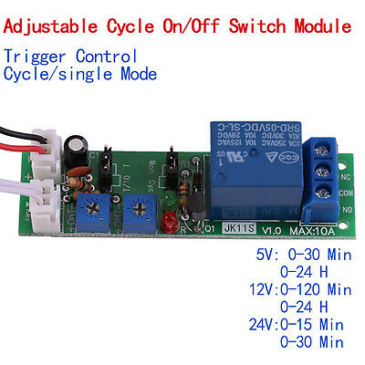 DC 5V 12V 24V Adjustable Cycle Timer Delay On/Off Switch Relay Module