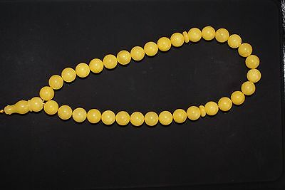 Baltic Amber Islamic 33 Prayer Round Pressed 10 mm Beads Rosary, 22 grams