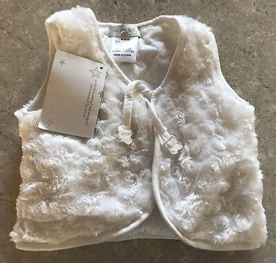 Max & Tilly White Fur Vest Size 00 Brand New With Tags