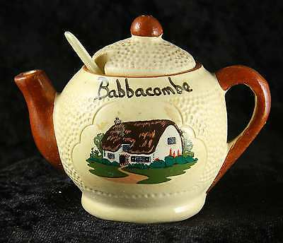 "Manor wear preserve pot in shape of teapot ""Babbacombe"" plus liner & spoon"