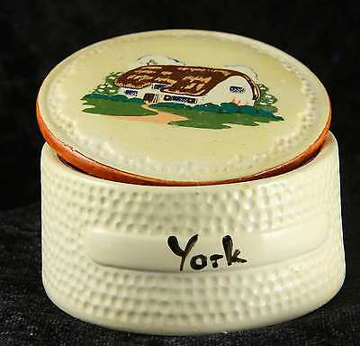 Manor Wear York pill pot trinket box  with liner & spoon tourist item