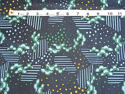 Vintage fabric 1970's blue, yellow, green pattern, large piece 196cmx156 unused