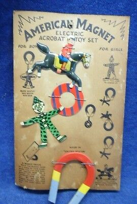 Rare-Vintage American Magnet Electric Acrobat Toy Set-Made In Usa