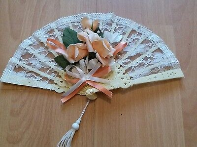 vintage style 80s decorative lace hand fan with flowers g.c