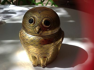 Vintage Burmese Gold Leaf Lacquer handmade Owl shaped Box
