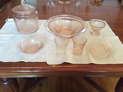 Depression Glass Lot 8 Pink Royal Lace  Sherbet Tumblers Cookie Jar Plate  Bowls