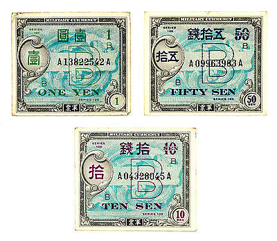 Set of 3 different Japan WW2 allied military currency nice circulated f+