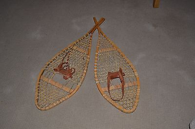 Antique Vintage Snow Shoes  Old Wooden Canadian Snowshoes Ski Cabin Decore