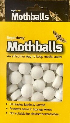 Moth Balls 200G Repeller Deterrent Drawer Wardrobe Kills Eggs Larvae X 50 New Uk