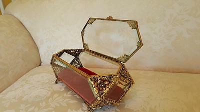 "Luxurious Lrg. Vintage Vitrine Casket Trinket Box Beveled Glass Ormolu 11"" long"