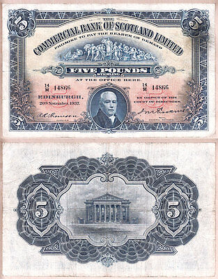 1937 £5 Commercial Bank of Scotland issued note; aVF