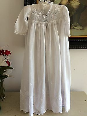 1900s CHRISTENING GOWN IRISH LAWN COTTON NORMANDY WHITEWORK NEEDLELACE HEIRLOOM