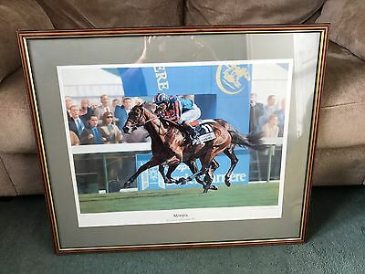 Horse racing limited edition signed and framed print of Montjeu 450mm x 680mm