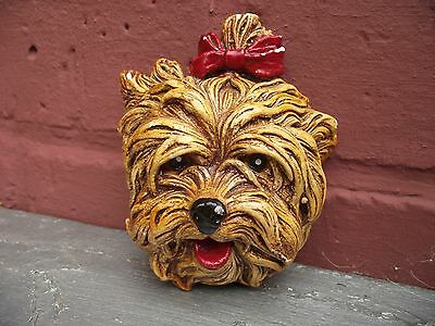Vtg Plaster Chalk Yorkshire Yorkie Terrier Dog Face Head Wall Mask Red Bow