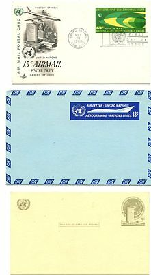 United Nations New York Stamps: 11 x  Postal Stationery items used and unused
