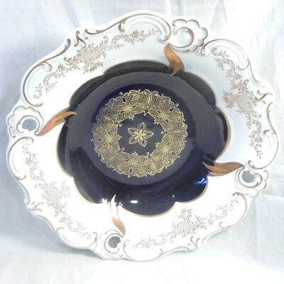 Echt Weimar Kobalt Cobalt Blue Gold White large Porcelain Bowl Germany