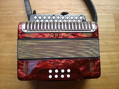 Hohner Erica Dg Melodeon / Accordion German Made Red Pearl Squeezebox