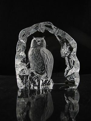 Mats Jonasson Crystal Art Glass Owl Paperweight, Large, Original Tags