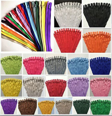 5-100pcs Nylon Coil Zippers Tailor Sewer Craft (10-12-14 Inch) Crafter's &FGDQRS