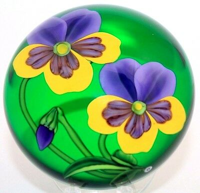 LARGE Dazzling RANDALL GRUBB Blooming PANSY Flowers Bud Art Glass PAPERWEIGHT