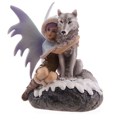 Fantasy Snow Fairy With Wolf Ornament; Mystic Realms Collection - NEW