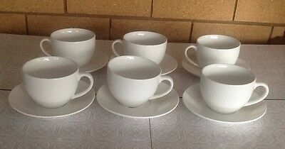 Set of 6 Maxwell Williams White ceramic cups and saucers