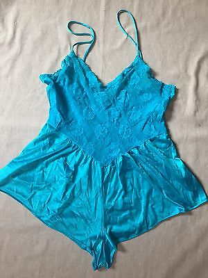 Vintage Lingerie Silky Satin And Lace Festival One Piece Teddie Snap Bottom Sz M