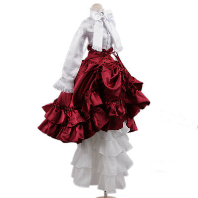 [wamami] 109# White-Red Dress/Clothes/Suit/Outfit For 1/4 MSD DOD AOD BJD Doll