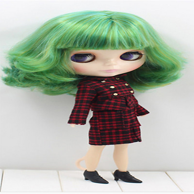 """For 12"""" Neo Blythe doll Takara doll Red&White Plaid Dress/Clothes"""