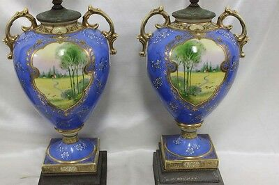 Pair French 19 Century hand painted porcelain urns made in to a lamp (7622)