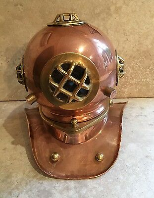 Vintage Copper and Brass Model Diving Divers Helmet Maritime Nautrical