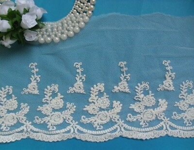 Antique Style Off-White Embroidered RosesFlowers Net Lace Trim- Per Yard-T660
