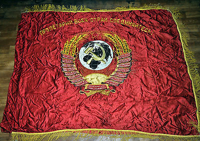 used embroidered silk AUTHENTIC SOVIET USSR CCCP BANNER flag coat of arms