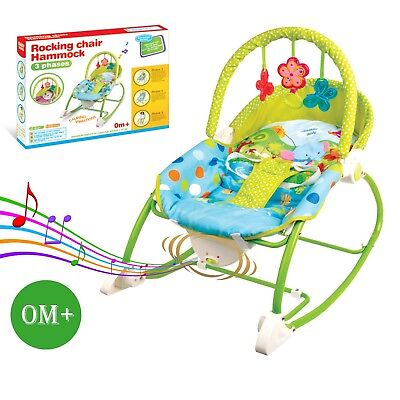 Baby Rocker Bouncer Reclining Chair Soothing Music Viberation with Toys 0M+