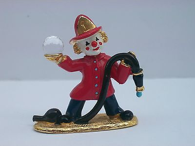 SPOONTIQUES Pewter Clown Fireman Swarovski Crystal Ball Figurine ~ # KM438