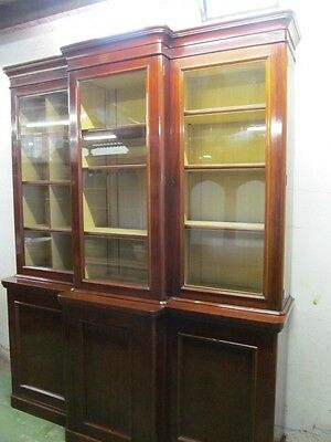 Victorian mahogany 3 door breakfront library bookcase