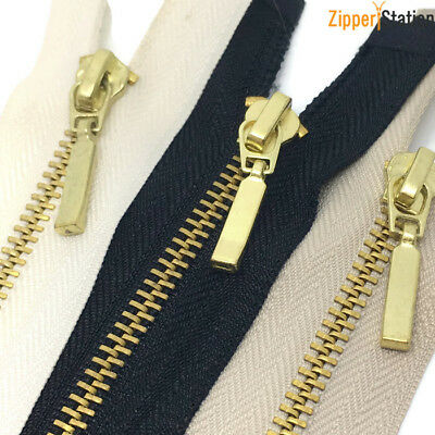 Black Zip with Metal Brass Teeth. Open End No 3 Weight Zips. 65cms to 20cms