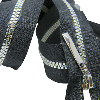 Black Chunky No 3 Zips - Open and Closed End Zippers - Plastic Silver Teeth