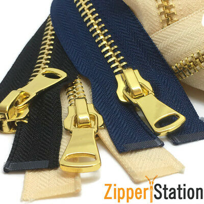 Zip Metal Gold Teeth No5 Open End  Metal Zips Zipper  34/'/'-85cm Black Gold teeth