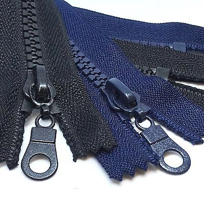 Black or Navy, Closed End Chunky Plastic Teeth Zips, 14cms - 30cms long zippers