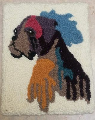 "Rug Hooking Pattern BOXER on Red Dot Fabric 12.5"" X 16"""