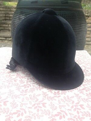 Champion Horse Riding Black Velvet Helmet (Size 6 7/8, 56cm) Excellent Condition