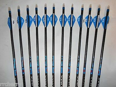 12- Carbon Express Maxima BLU RZ  350 Arrows & Bohning Blazer Vanes! WILL CUT!