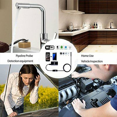 WIFI Endoscope 8mm 6LED IP67 Borescope Inspection Camera for iPhone Android AU#D